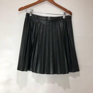 J.Crew Black Faux Leather  Pleated Mini Skirt